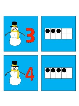 Snowman Number and Tens Frame Cards