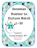 Snowman - Number to Picture Match 1-20