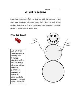 Snowman Number/Color Dice Roll in Spanish
