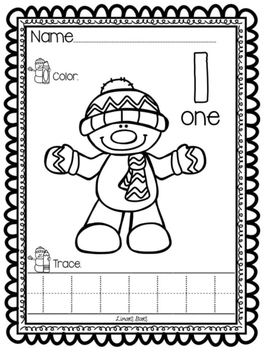 Snowman Numbers 1-10: Count, Color, & Trace
