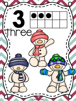 Snowman Numbers 1-10 Posters