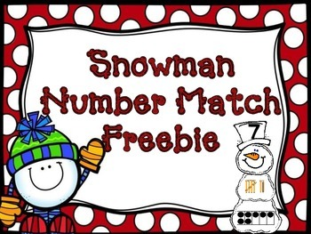 Snowman Numbers 1-20 Match FREEBIE