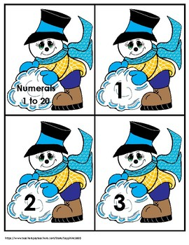 Snowman Numbers 1 to 20 Bang Game