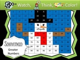 Snowman Numbers that are Greater - Watch, Think, Color Game!