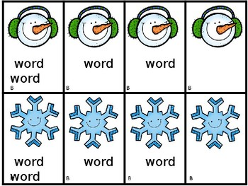 Snowman Old Maid Center Activity You Edit