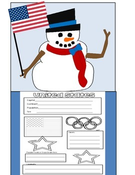 Snowman Olympic Parade of Nations!  Country Reports and Bulletin Board Display