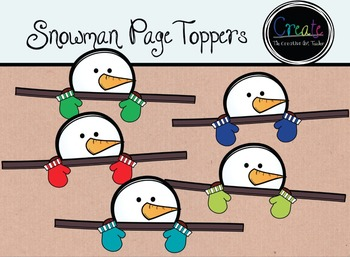 Snowman Page Toppers - Digital Clipart