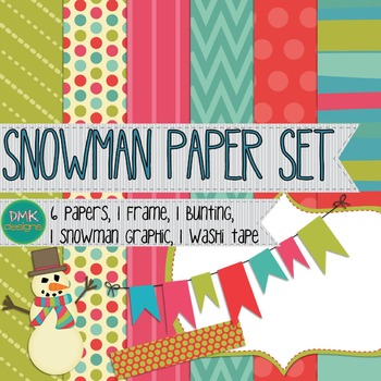 Digital Paper and Frame Set- Snowman