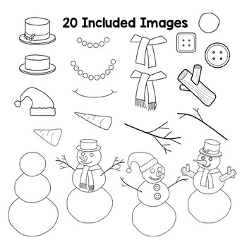 Snowman Parts Clipart to Build a Snowman