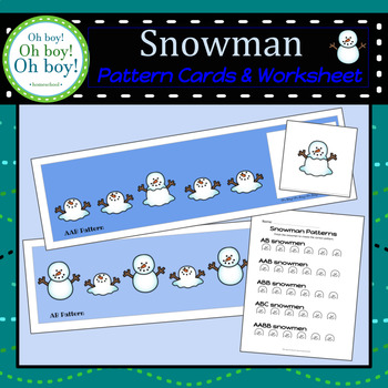 Snowman Pattern Cards and Worksheet - S
