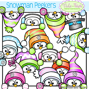 Cute Snowman Peeking Snowmen Faces Winter Clipart Clip Art