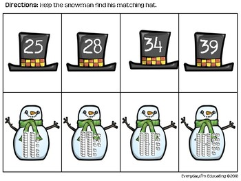 Snowman Place Value Match