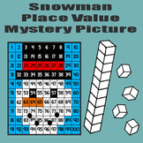 Snowman Place Value Math Mystery Picture - 11x17 - Winter Snow Day