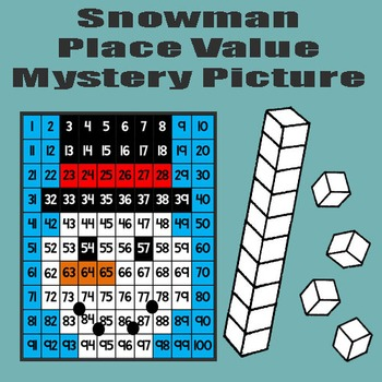Snowman Place Value Math Mystery Picture - 8.5x11 - Winter Snow Day