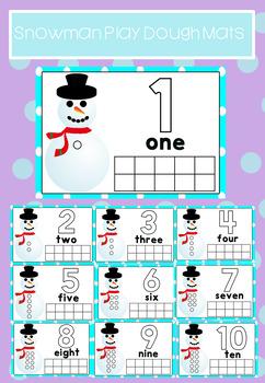 Snowman Play Dough Mats 1-10