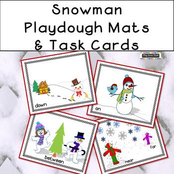 Snowman Playdough Mats and Task Cards