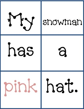 Snowman Pocket chart sentences..