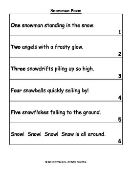 Snowman Poem and Craft