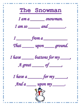 Snowman - Poetry Packet