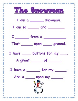 Snowman - Poetry Packet with Simple Font