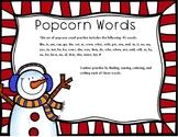 Snowman Popcorn Words