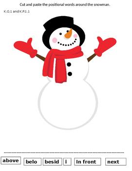 Snowman Positional Activity Sheet