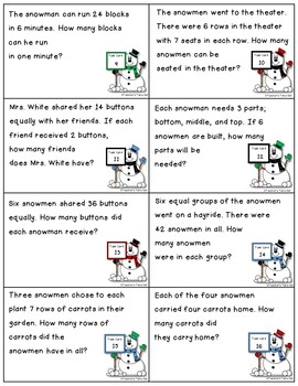 Snowman Word Problem Using Multiplication and Division Task Cards