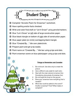 Snowman Project with Reading, Writing, Poem and Craft