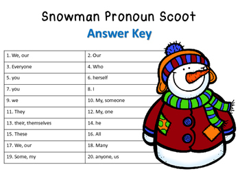 Snowman Pronoun Scoot Task Cards with QR Codes
