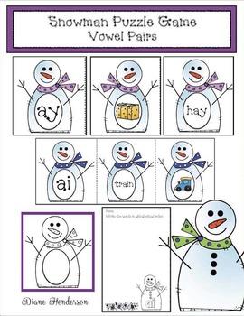 Snowman Puzzle Game Vowel Pairs