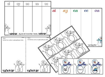 Winter: Vowel Pairs: Snowman Puzzle Game