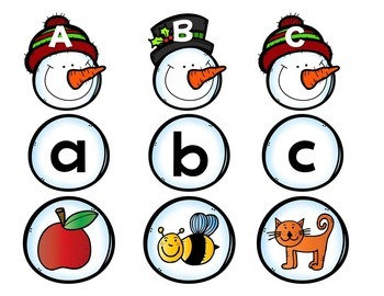 Snowman Puzzle: Upper & Lowercase + Picture Match. Cut & Go. Winter/Holidays