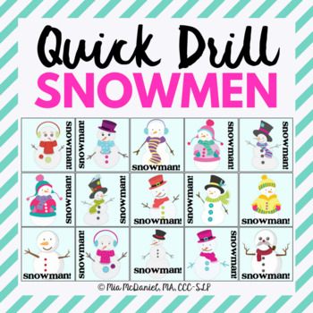 Snowman Quick Drill {for articulation or fluency therapy & RTi}