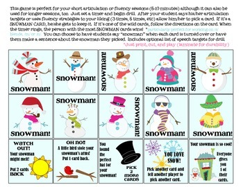 Quick Drill Snowmen {for speech therapy or any skill drill}