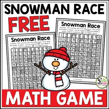 Snowman Race Math Game FREEBIE