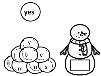 Snowman Read, Make and Write Kindergarten Sight Words