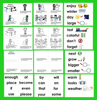 Winter Activities: 3 Levels :  Build A Snowman + Illustrated Word Wall