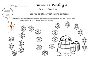 Snowman Reading Chart