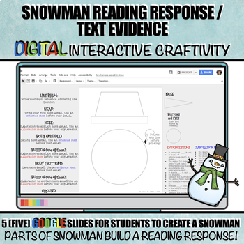 Snowman Reading Response / Text Evidence DIGITAL Winter Craftivity