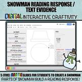 Snowman Reading Response / Text Evidence DIGITAL Winter Cr
