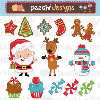 Snowman Reindeer Santa Clipart Set