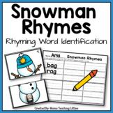 Snowman Rhymes - Rhyming Word Identification