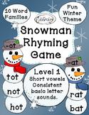 Snowman Rhyming Game - Short Vowels CVC