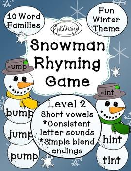 Snowman Rhyming Game - Short Vowels & Blends