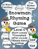 Snowman Rhyming Game - CVCC Short Vowels & Blends