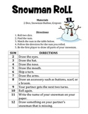 Snowman Roll - A Winter Math & Art Activity to Practice Adding 2 Numbers