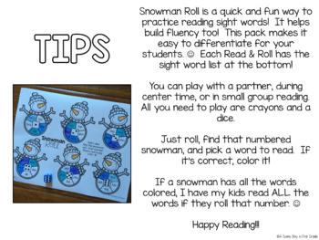 Snowman Roll {Dolch words!}