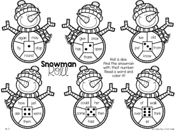 Snowman Roll {sight words!}