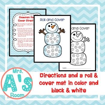 Snowman Roll and Cover: Numbers **FREEBIE**