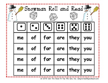 Snowman Roll and Read January Sight Word Game